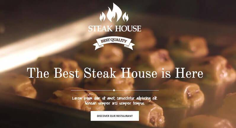 Steakhouse with video header
