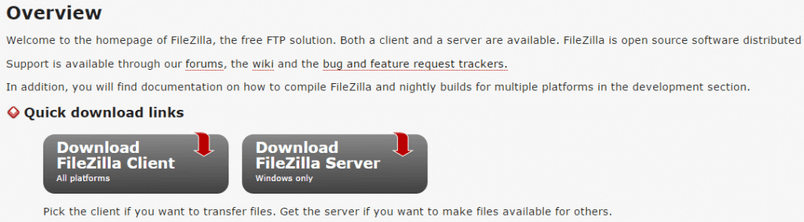 filezilla-main-page