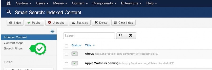 Search filters in Joomla com_finder