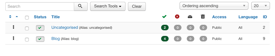 Joomla! 3.5 categories view