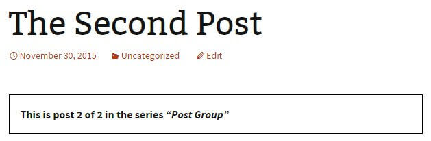 the post series view displaying two articles in a group