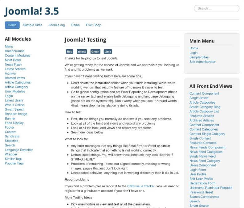 Default Joomla! template