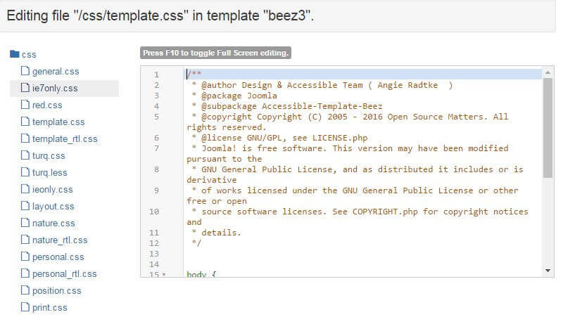modifying template files in the joomla file editor