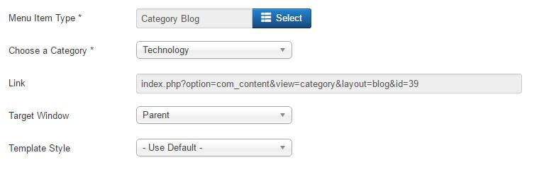 specifying details of a menu item in joomla