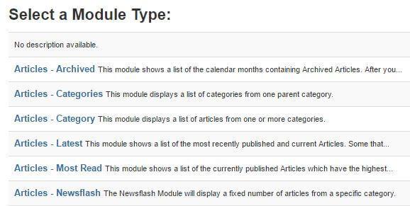 choosing a module type in joomla