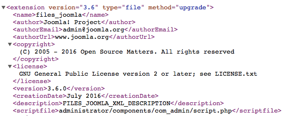 Checking Joomla! version in XML manifest file