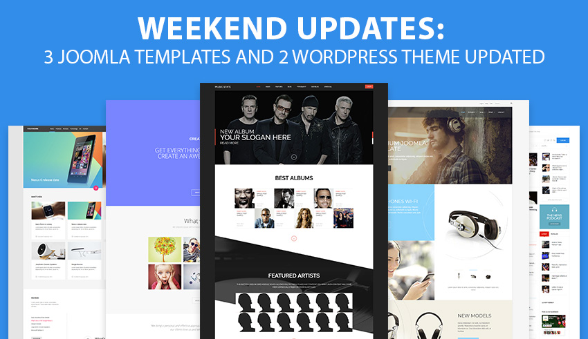 Weekend Updates: 3 Joomla templates and 2 WordPress themes updated