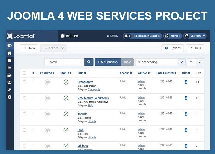 Joomla 4 web services project