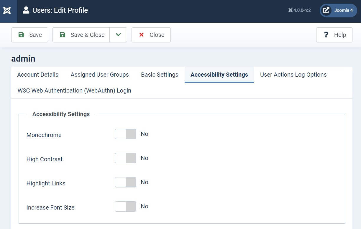Joomla 4 accessibility support
