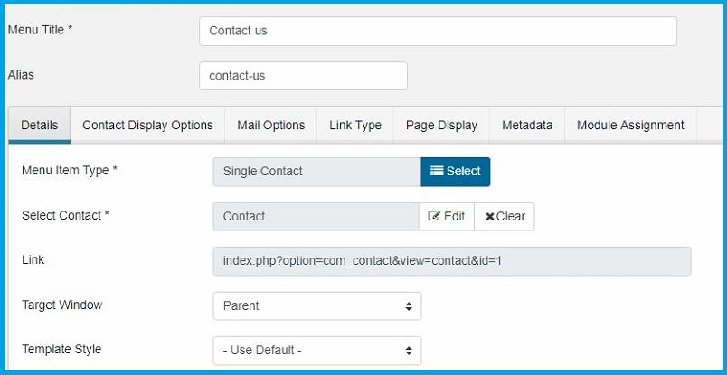 Joomla 4 contact menu