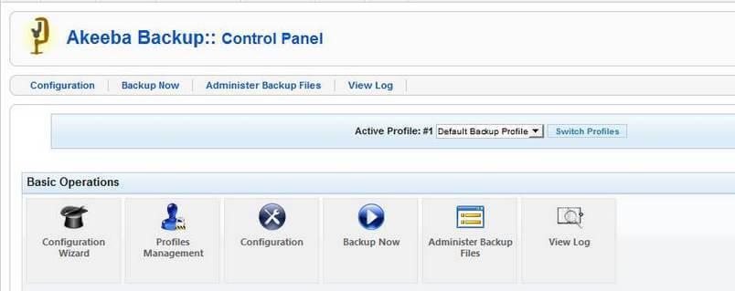 Akeeba backup control panel