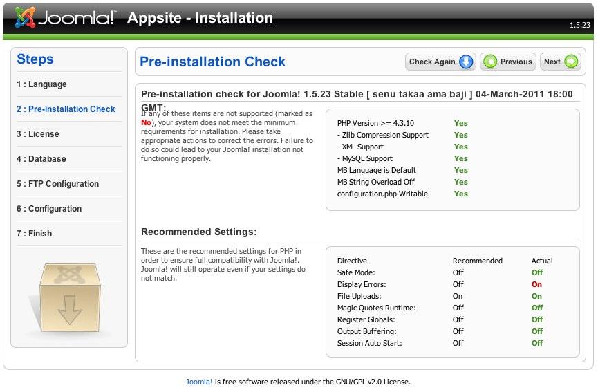 Joomla! Web Installer 1