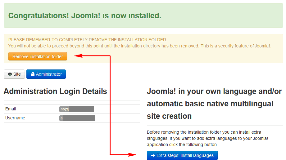 Last step - you can install extra languages here before running website