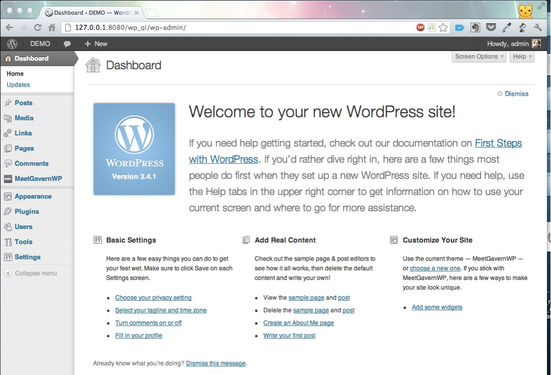 Welcome Screen WordPress Admin Panel