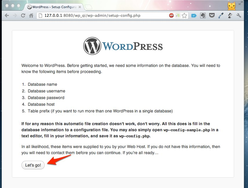 WordPress Setup Configuration File