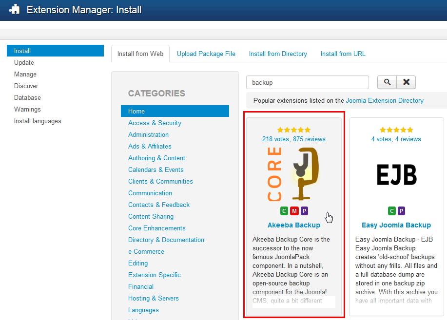 Install from web tab - Joomla! 3.x