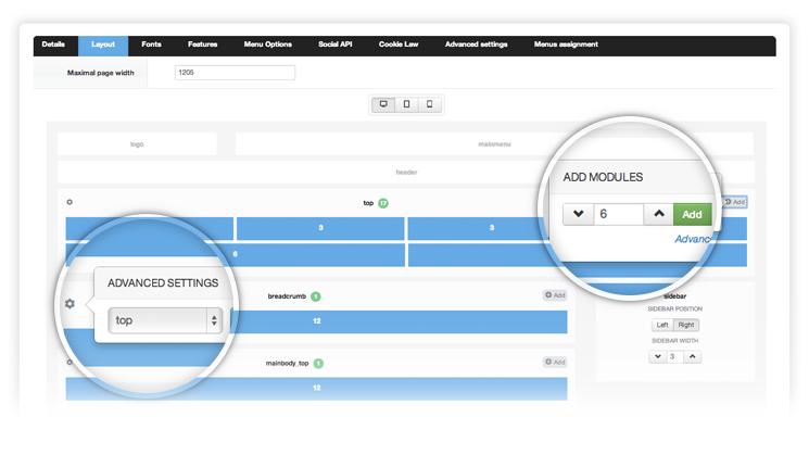 Joomla Framework  layout manager