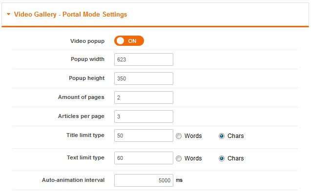 Video Gallery - Portal Mode Settings