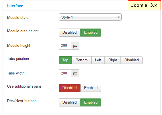 Intuitive interface of Joomla tabs module