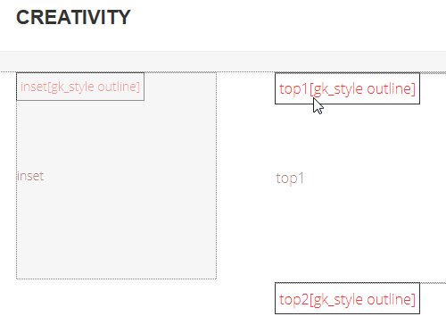 Few module positions used in Creativity template (Front-end)