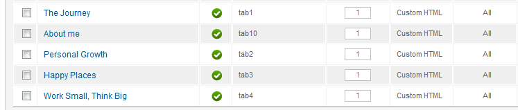 Modules must be published on tab1..tab10 positions to be show