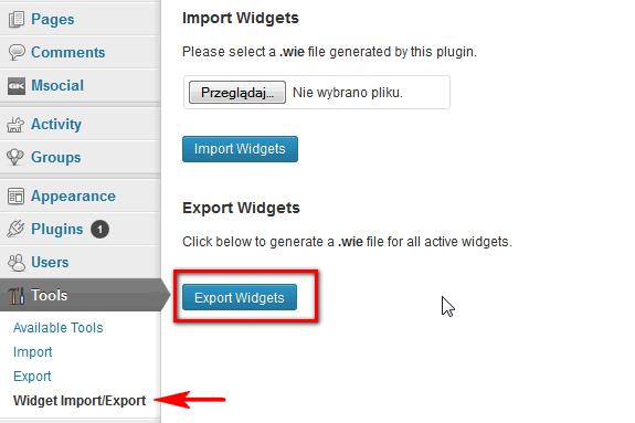 export-wigdets-wordpress