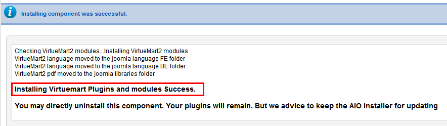 Installing Virtuemart Plugins and modules Success.