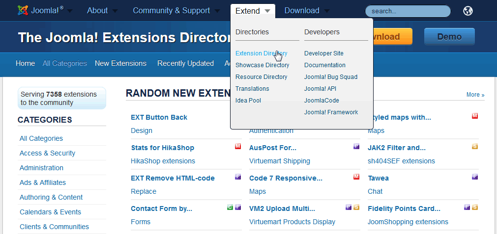 Official Catalog of Joomla Extensions