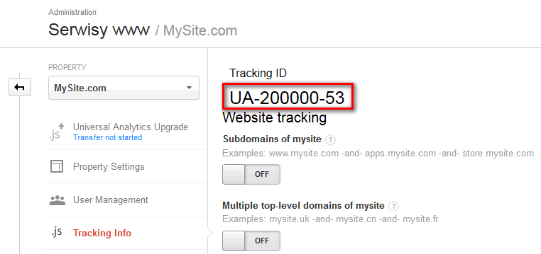 GA Tracking ID example