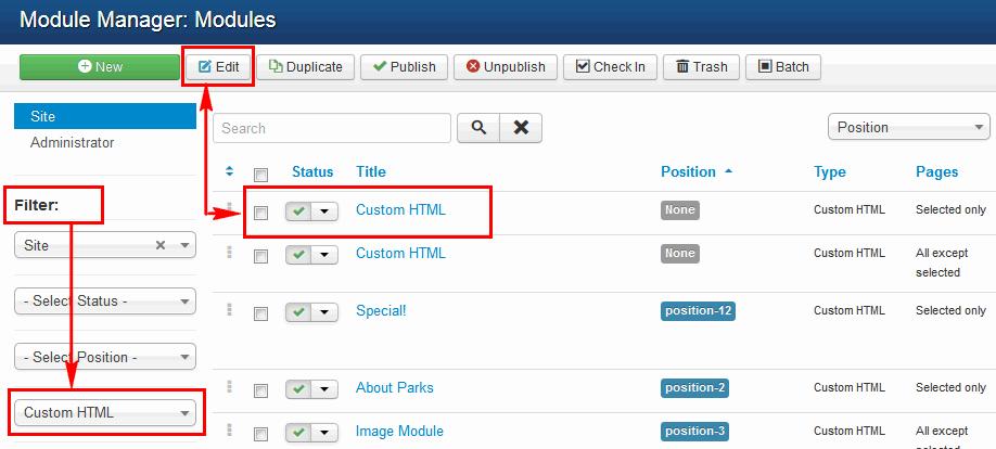 How to edit Joomla! 3.x module