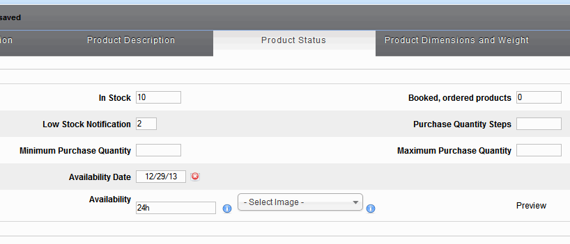 VirtueMart: Product Status