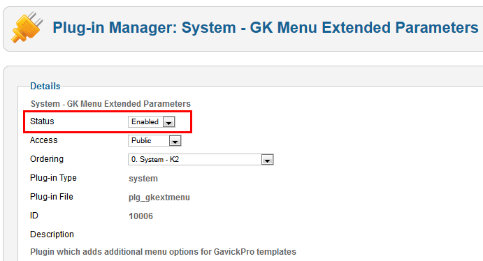 GK Menu Extended plugin - must be enabled