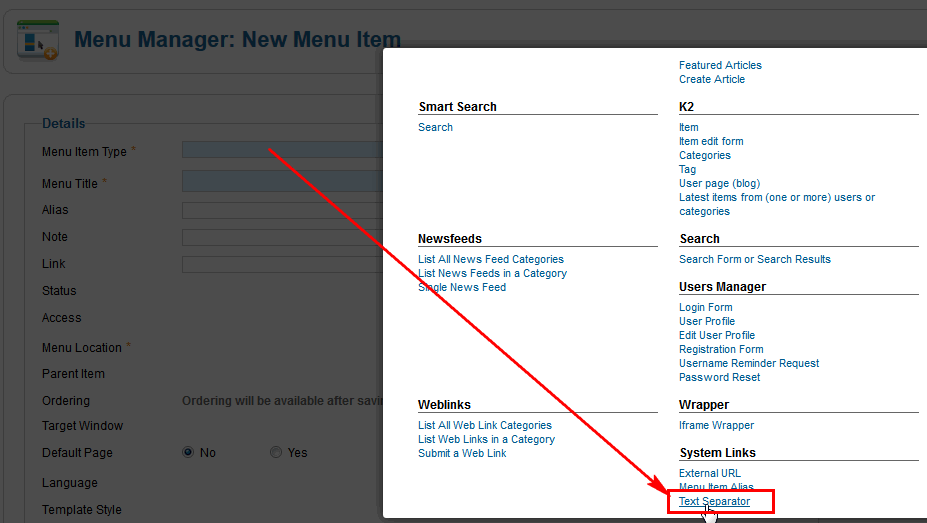 From the list of Menu types choose Text separator