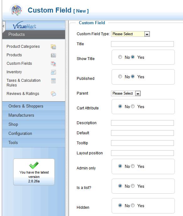 Adding custom fields in VM