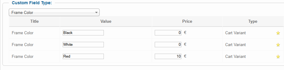 VM: Custom fields - red color could be more expensive