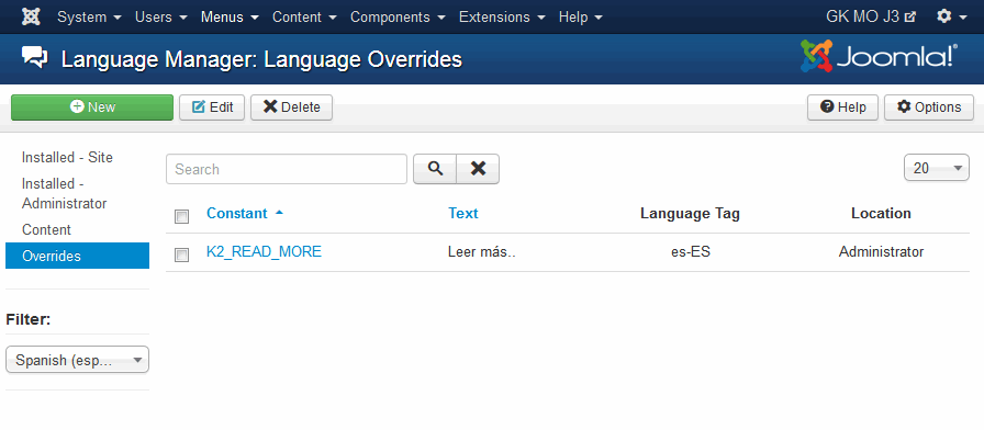 Joomla! Language Overrides Manager