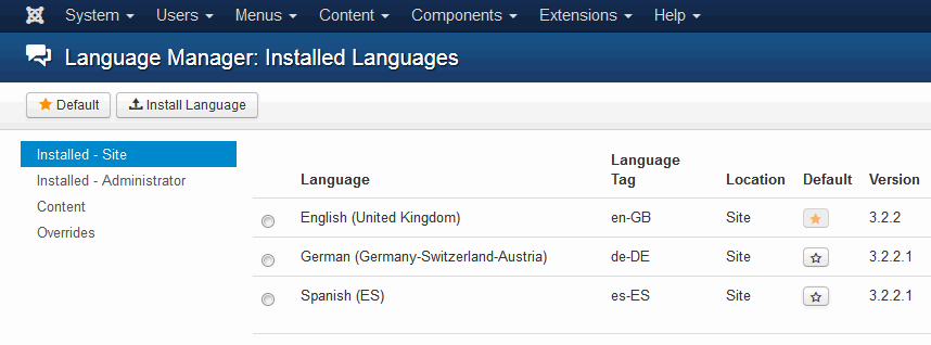 List of installed languages in Joomla 3.x