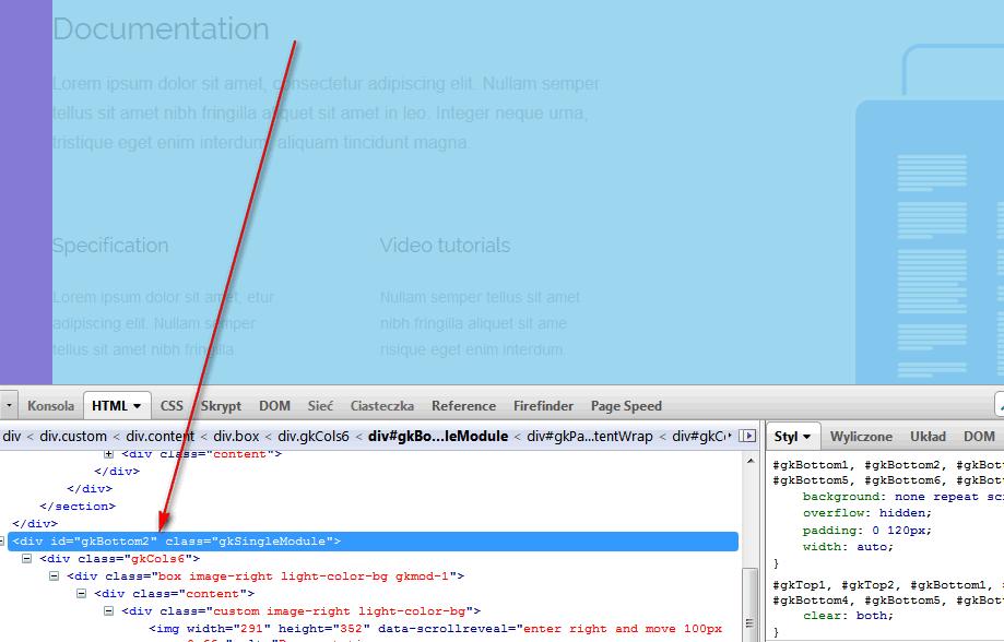 Checking ID name using Firebug addon for Firefox