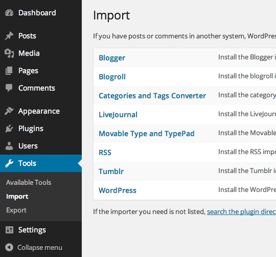 Selecting the WordPress importer tool in the menu