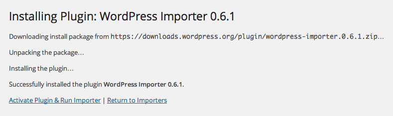 Installation of WordPress importer complete