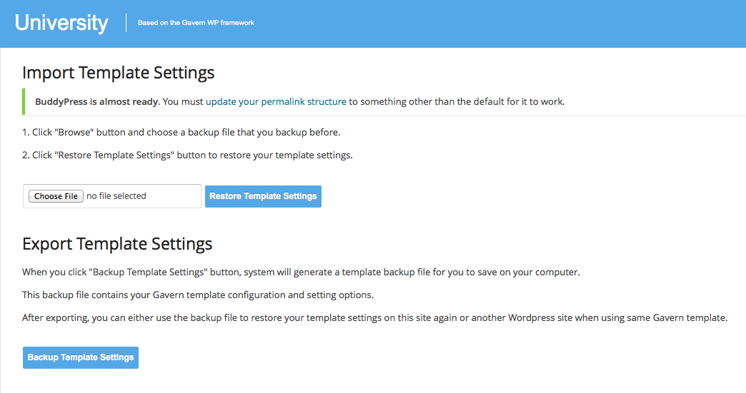 Import theme settings in the GavernWP WordPress framework
