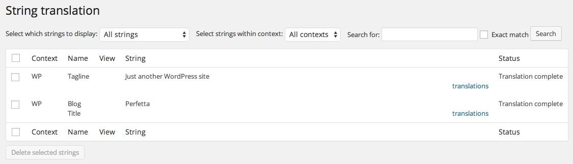 String Translation section