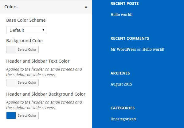 the wordpress theme background changes color instantly when assigned in the customizer color options