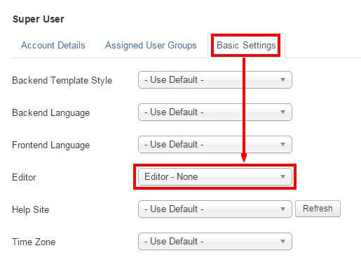 disabling wysiwyg editors in joomla