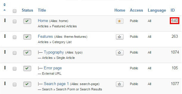 locating your joomla site frontpage id