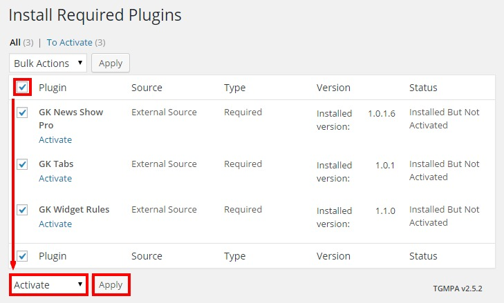 activating required plugins in the box theme for wordpress