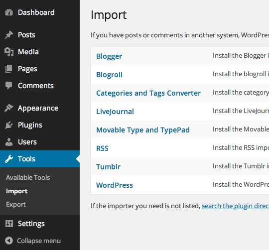 a list of available sources for importing wordpress content