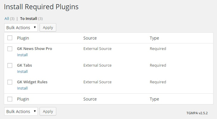 The install required plugins screen with no options changed