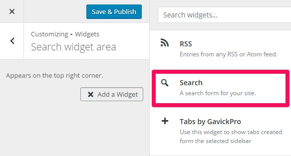 selecting a widget in the wordpress customizer