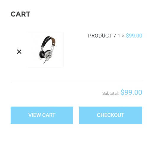 The shopping cart view in the box wordpress theme